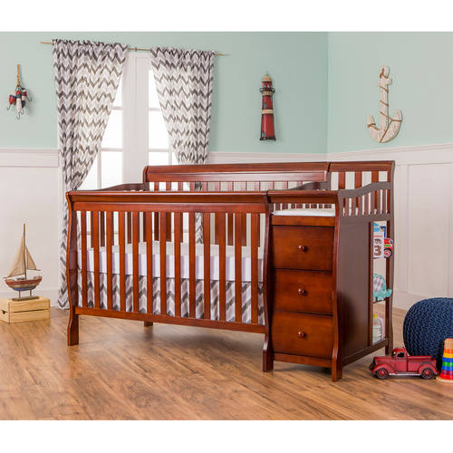 Dream on Me Brody 5-in-1 Convertible Fixed-Side Crib with Changer, Espresso