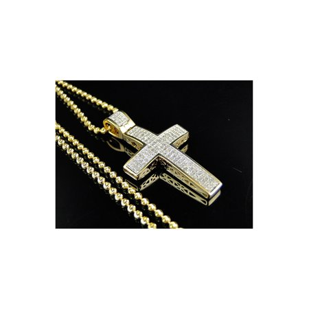 Genuine Diamond Mini Cross Pendant & Chain Finished In 10K Yellow Gold (.75 Ct)