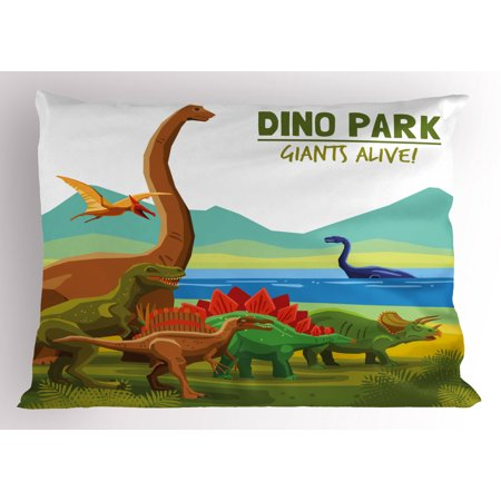 Dinosaur Pillow Sham Flying Swimming and Land Dinosaurs with Lake and Mountains Dino Park Alive Theme, Decorative Standard Size Printed Pillowcase, 26 X 20 Inches, Multicolor, by (Land Of Oz Theme Park Beech Mountain)