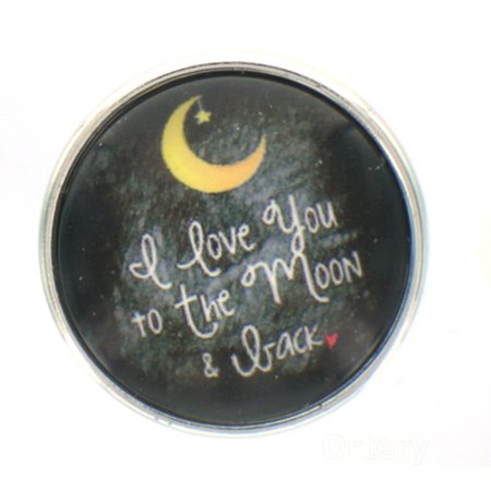 Snap glass  button charms  Jewelry I Love you to the moon and (Glass Buttons)