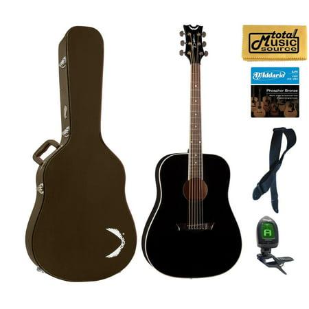Dean Guitars Axs Series Dreadnought Acoustic Guitar, Mahogany, Classic Black, AX D MAH CBK  HSBNPACK Brown Case Bundle (Dean Ax Dqa Acoustic Guitar)