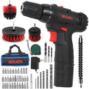 """Cordless Drill/Driver Kit, 48pcs Drill Set Lithium-Ion Battery Brushes Tape Measure - 12V Max Drill 280 In-lb Torque, 18+1 Metal Clutch, 3/8"""" Keyless Chuck, Built-in LED - Wood Bricks Walls Metal"""