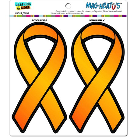Orange Awareness Support Ribbon Leukemia Multiple Sclerosis Automotive Car Refrigerator Locker Vinyl Magnet Set
