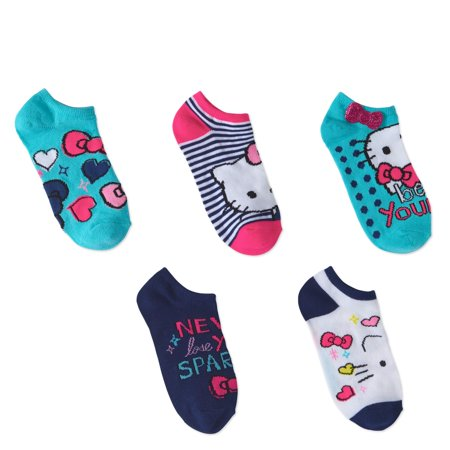 Hello Kitty No Show Socks, 5 Pairs (Little Girls & Big Girls)