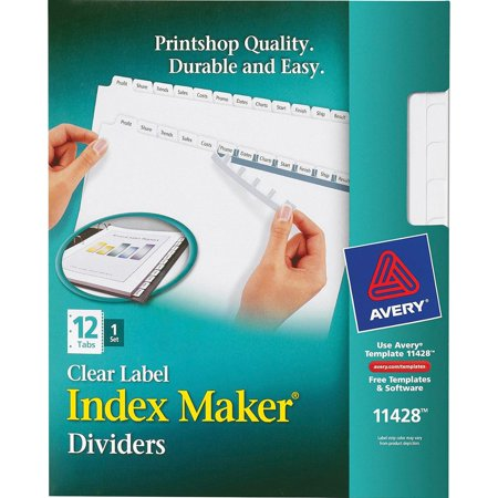 - Avery&reg, AVE11428, Index Maker Print & Apply Clear Label Dividers with White Tabs, 12 / Set