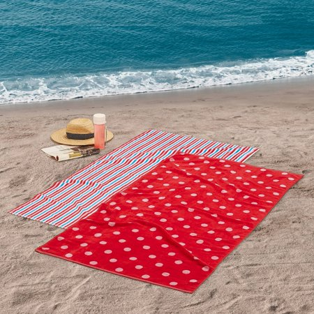 """Mainstays Stripe and Polka Dot Reversible Cotton Beach Towel - 30"""" x 60"""" - 2 Pack"""