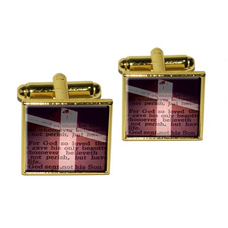- Cross and Bible Verse John 3-16 For God So Loved the World Square Cufflinks
