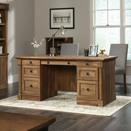 Sauder Palladia Rectangular Executive Desk, Vintage Oak - Palladia L-shaped Desk