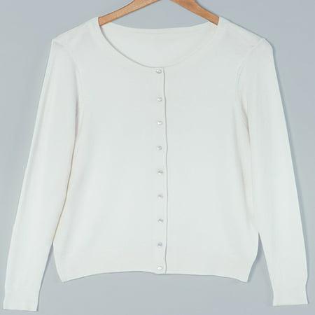 Fine Gauge Knit Cardigan Sweaters-White XL