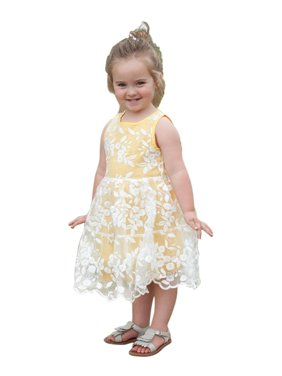 da0dd40ad1f9 Product Image Think Pink Bows Girls Yellow Floral Embroidered Lace Piper  Dress