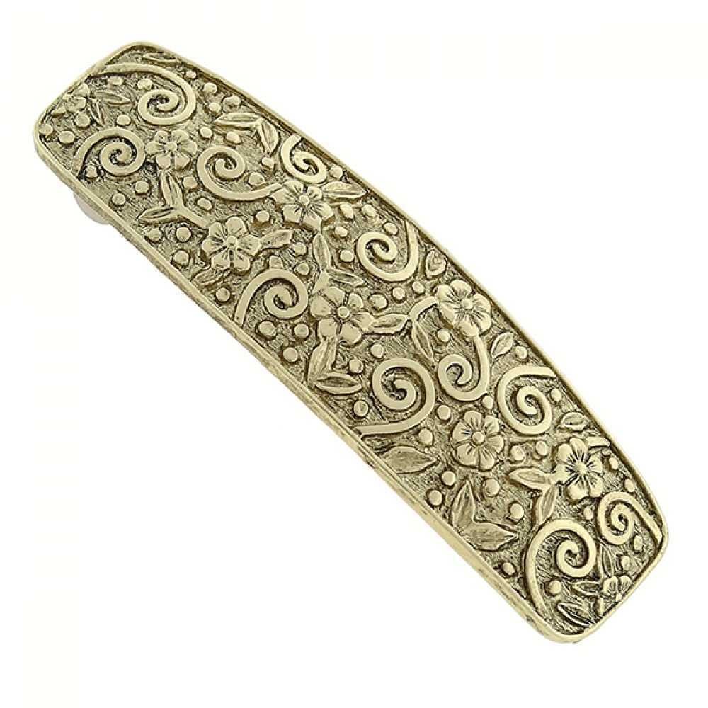 1928 Jewelry Womens Alloy Gold-Tone Flower Design Barrette Hair Accessory NEW