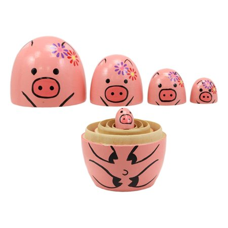 Ebros Gift Pink Porky Babe Pig Wooden Toy Stacking Nesting Dolls 5 Piece Set Hand Painted Wood Decorative Collectible Matryoshka Doll Toys for Children Christmas Mother's Day Birthday Gifts