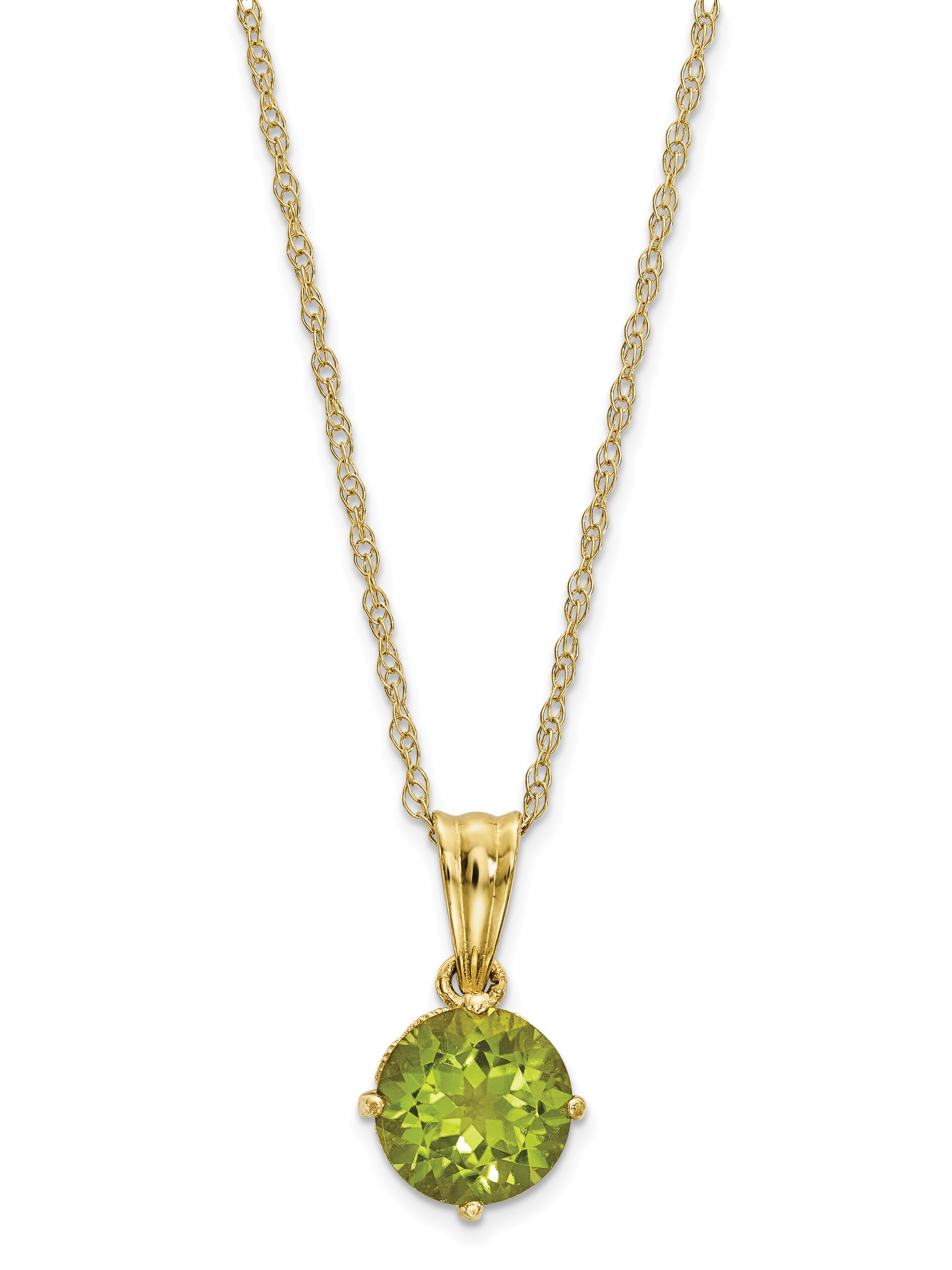 10K Tiara Collection Polished Diamond Peridot Necklace by Tiara Collection