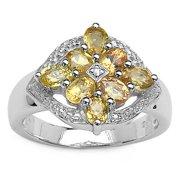 Malaika Sterling Silver 1.99ct Yellow Sapphire Diamond Accents Ring Size- 6, Yellow