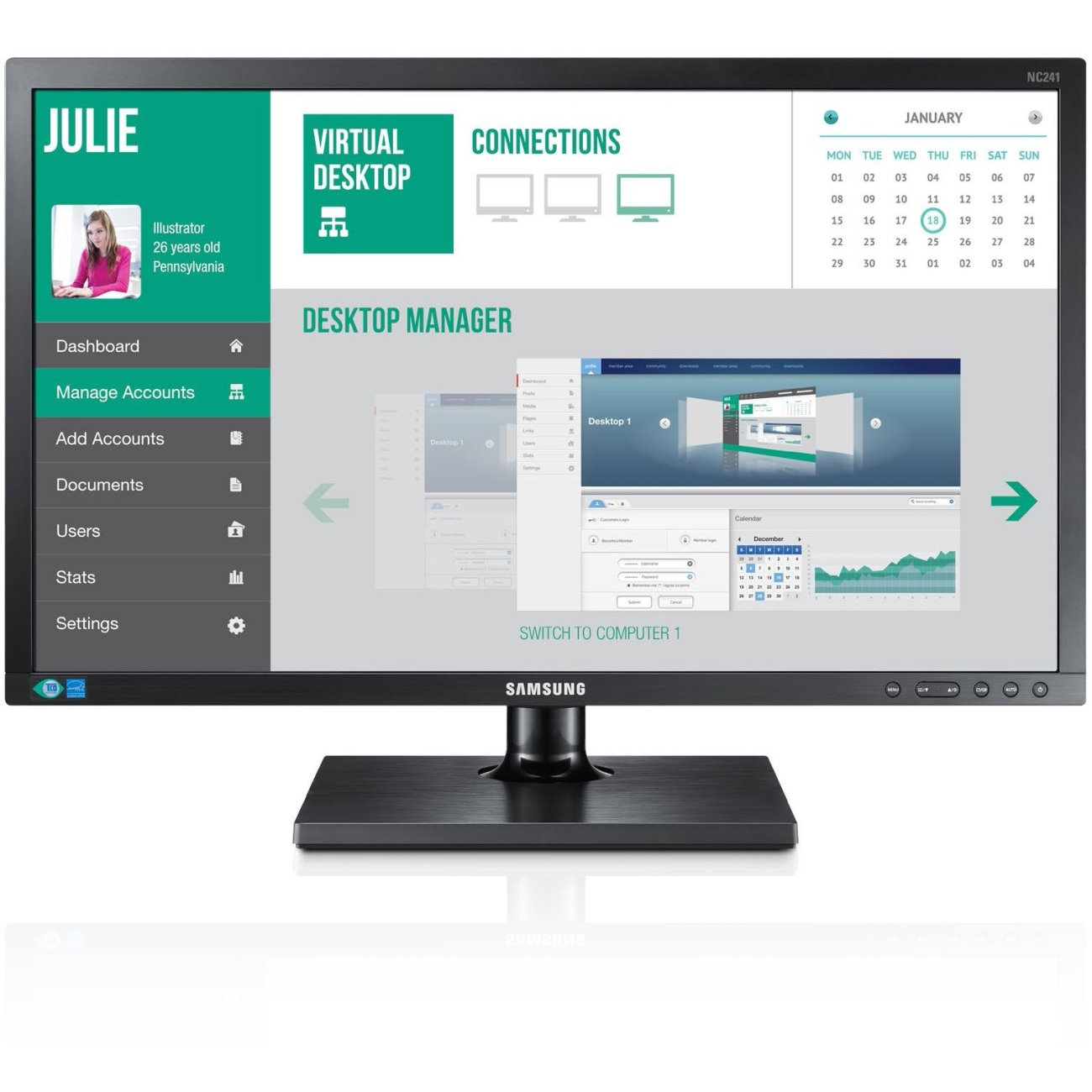 Samsung Cloud Display Nc241-ts All-in-one Zero Client