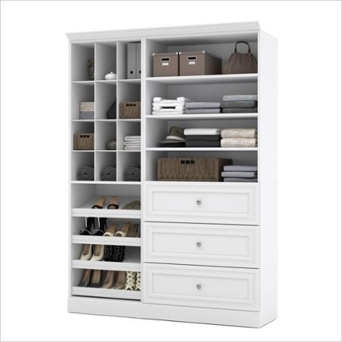 2-Pc Contemporary Storage Unit Set in White