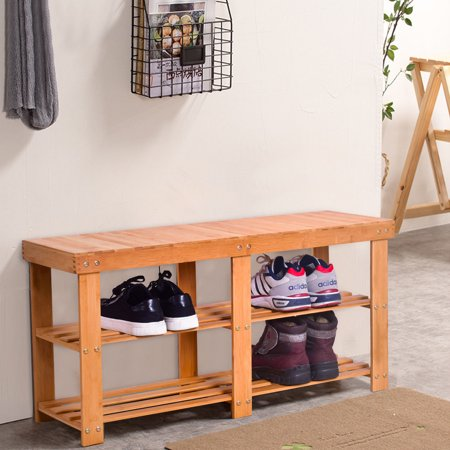 Gymax Bamboo Shoe Rack Bench Storage Shelf Organizer Entryway Home
