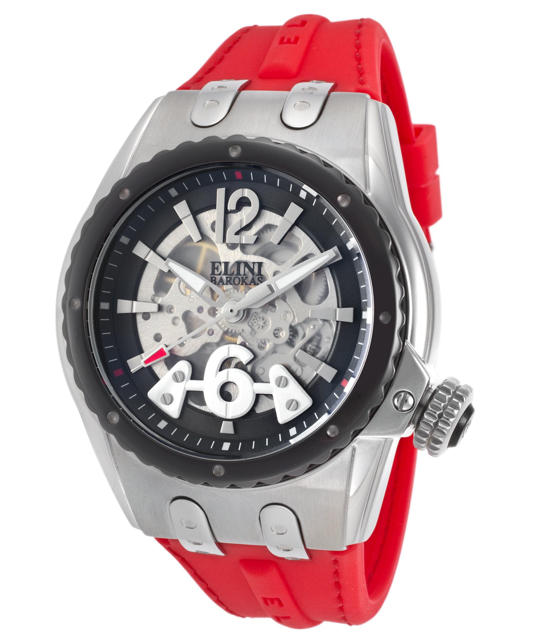 Elini Barokas 20026-01-Bb-Rds Genesis Prime Automatic Red Silicone Black Dial Watch