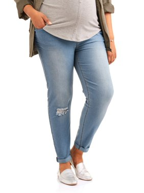 2bd5cbc5cafa7 Product Image Maternity Full Panel Super Soft Destructed Skinny Boyfriend  Crop Jeans -- Available in Plus Size. Product TitleOh! MammaMaternity ...