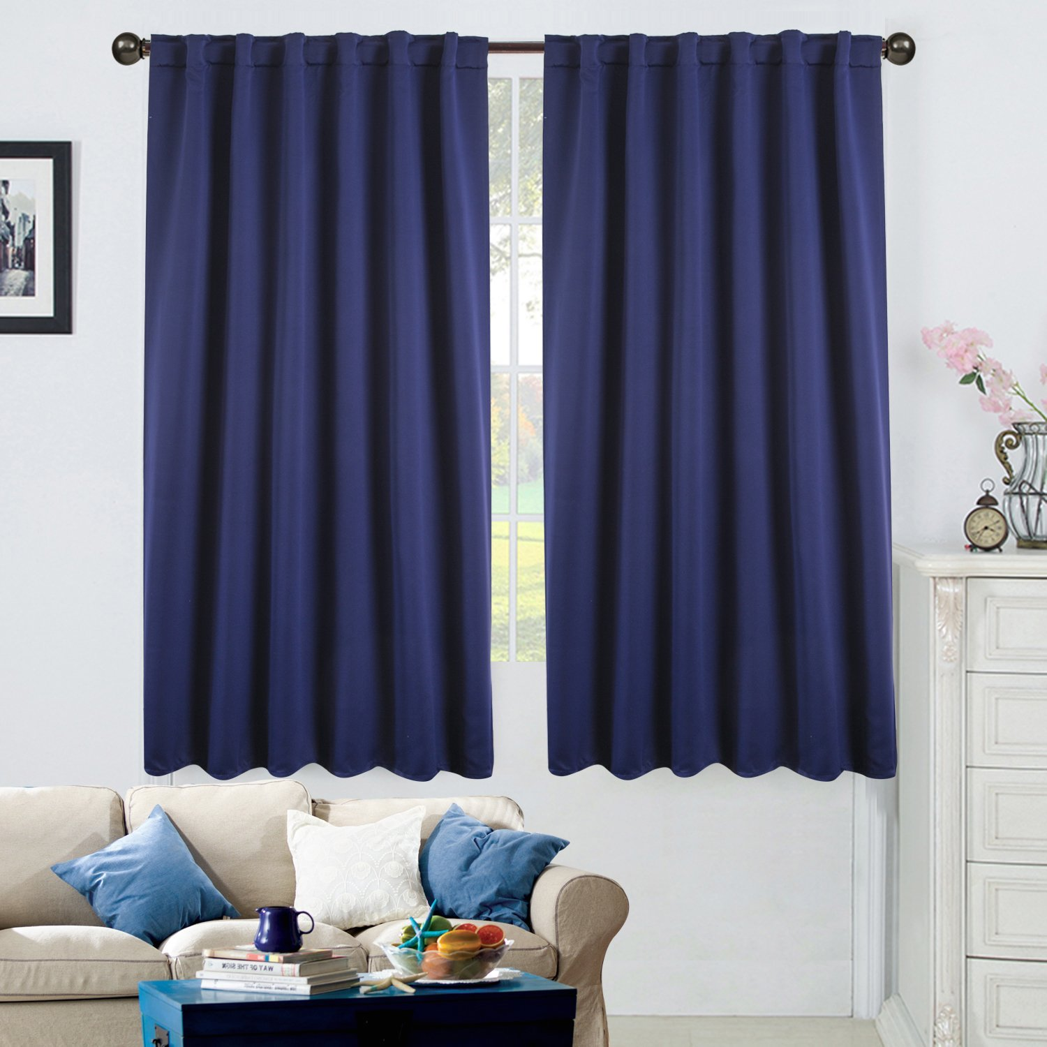 """52"""" X 63"""" Blackout Energy-Efficient Thermal Back Tab & Rod Pocket Window Curtain, 1 Panel"""