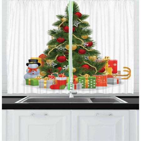 Christmas Curtains 2 Panels Set, Xmas Tree with Vivid Balls and Snowflakes New Year Celebration Theme Art, Window Drapes for Living Room Bedroom, 55W X 39L Inches, Red Green Yellow, by Ambesonne - Green And Yellow Theme