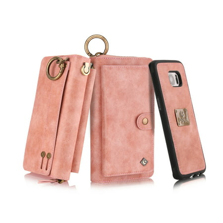 Leather Zipper Case - Galaxy S7 Wallet Case, Allytech Girls Women Magnets Detachable Zipper Wallet Case Cover PU Leather Folio Flip Holster Carrying Case Card Holder for Samsung Galaxy S7, Pink
