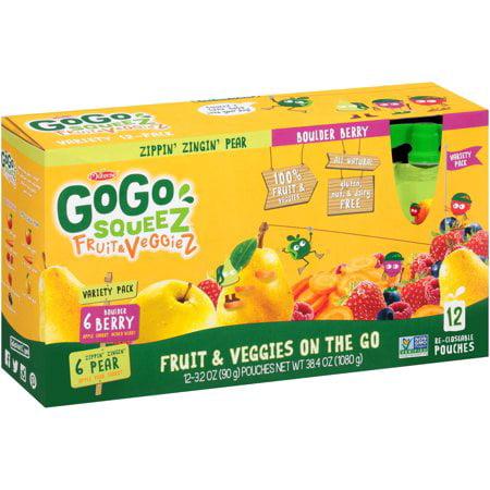(3 Pack) GoGo squeeZ Fruit & VeggieZ Zippin' Zingin' Pear & Boulder Berry Fruit & Veggies on the Go 12-3.2 oz. Pouches