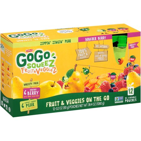 (3 Pack) GoGo squeeZ Fruit & VeggieZ Zippin' Zingin' Pear & Boulder Berry Fruit & Veggies on the Go 12-3.2 oz. Pouches