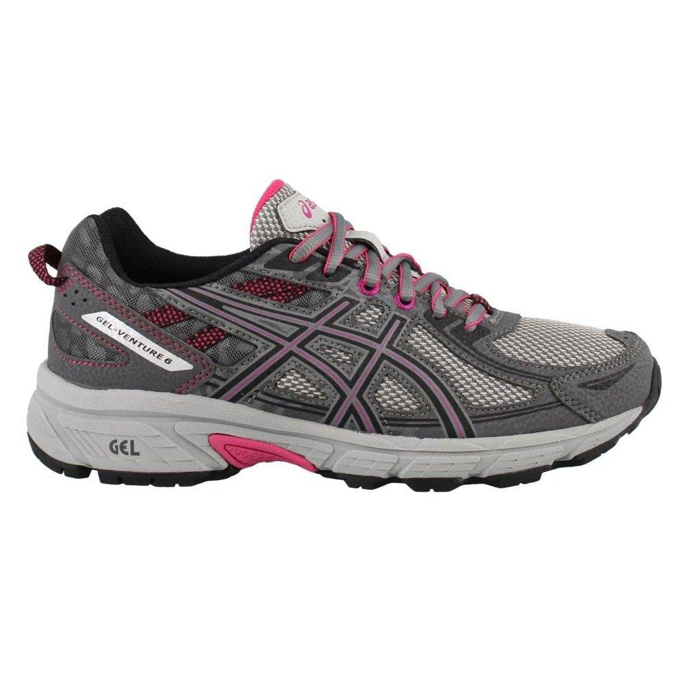 Asics women's gel-venture 6 running-shoes, carbon/black/pink peacock, 9 d us