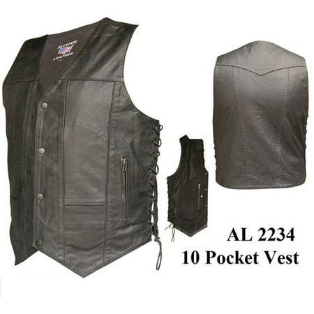 Cowhide Leather Pocket Brief (Men's 48 Size 10 Pockets Split Cowhide Leather 2 Front Pockets Vest With Antique Brass)