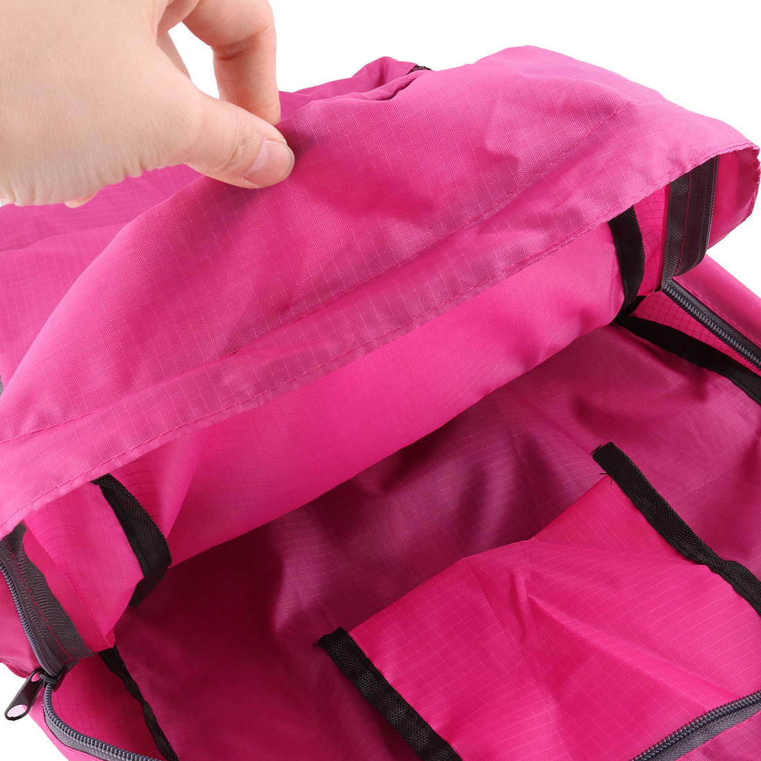 3ffe064089 Outdoor Travel Nylon Water Resistant Clothes Storage Bag Backpack Fuchsia -  Walmart.com