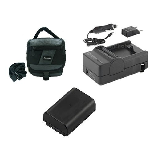 Sony DCR-SX85 Camcorder Accessory Kit includes: SDM-109 Charger, SDC-27 Case, SDNPFV50NEW Battery
