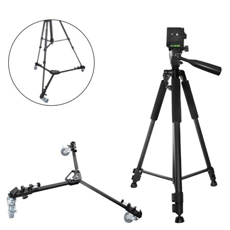 Xit 60 Inch Pro Series Full Size Camera/Video Tripod Black + Xit XTDLT Elite Series Professional Universal Tripod Dolly with One Step Easy Lock and Locking Wheels