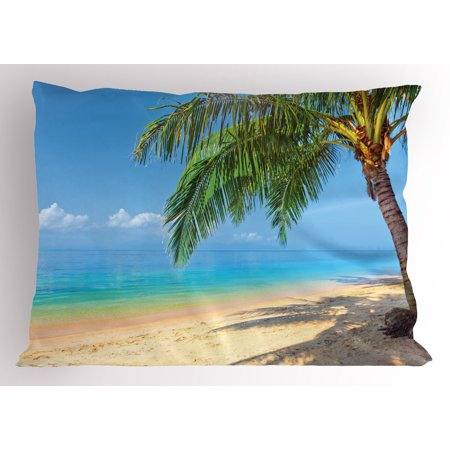 Tropic Palm Camel (Landscape Pillow Sham Tropic Botanic Image with Coconut Palms near Ocean Sea Beach Photo, Decorative Standard Queen Size Printed Pillowcase, 30 X 20 Inches, Sky Blue Aqua Cream Green, by Ambesonne )
