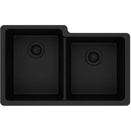 Elkay ELGU250RBK0 Gourmet e-granite Double Bowl Undermount Sink, Available in Various Colors