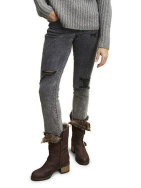 Scoop Dark Gray Acid Washed Destructed Jeans Women's
