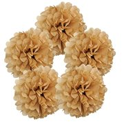 "Just Artifacts 5pcs 10"" Inch Tissue Paper Pom Pom Flower Ball (Color: Taupe)"