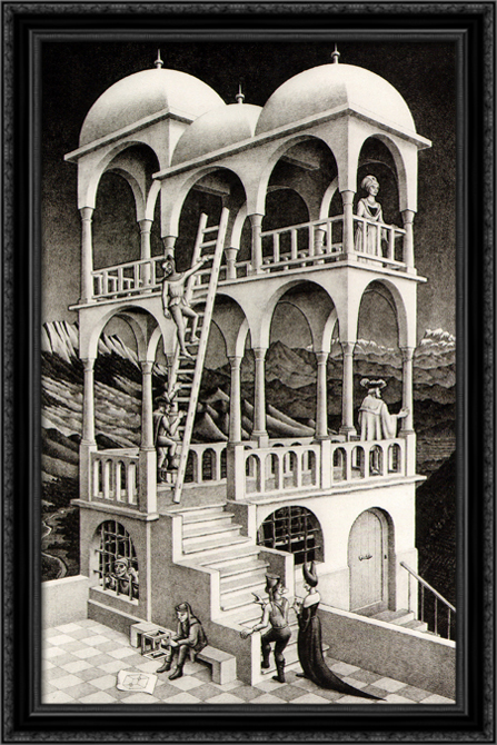 Belvedere 26x40 Large Black Ornate Wood Framed Canvas Art by M.C. Escher by FrameToWall