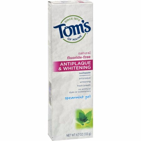 Tom's Of Maine Antiplaque And Whitening Toothpaste Spearmint Gel - 4.7 Oz - Pack of 6 Antiplaque Plus Whitening Gel Toothpaste
