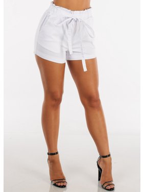 2105cab11c Product Image Womens Juniors Ladies Sexy Casual Summer Fashion Cute High  Waisted Stretchy Solid White Drawstring Waist Booty