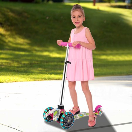 Gift Ideas For 3 Year Old Girl (3 Wheel Kick Scooter for Kids Boys Girls with flashing wheels,4 Adjustable Heigh,for Children from 3 to 17 Years Old)