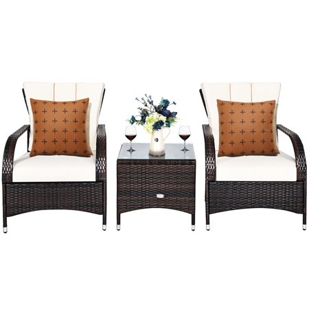 Costway 3PCS Rattan Furniture Set Chair Coffee Table Conversation Set W/White Cushion - image 4 of 10