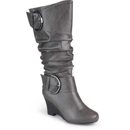 Leather Buckle Boot - Brinley Co. Women's Wide Calf Buckle Tall Faux Leather Boots