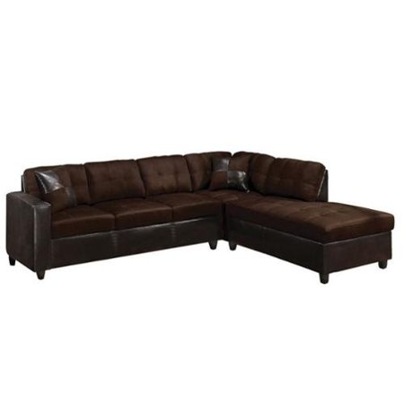 ACME Furniture Milano Faux Leather 2 Piece Sectional Sofa In Chocolate Walm