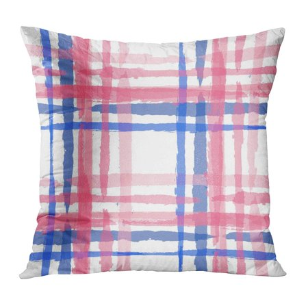 ECCOT Watercolor Kilt Pattern Hand Crossing Brush Strokes for Swimwear Upholstery Rustic Check Plaid Scottish Pillow Case Pillow Cover 16x16 inch ()