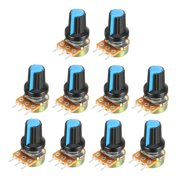 10Pcs 20K Ohm Variable Resistors Carbon Film Taper Potentiometer with Knobs