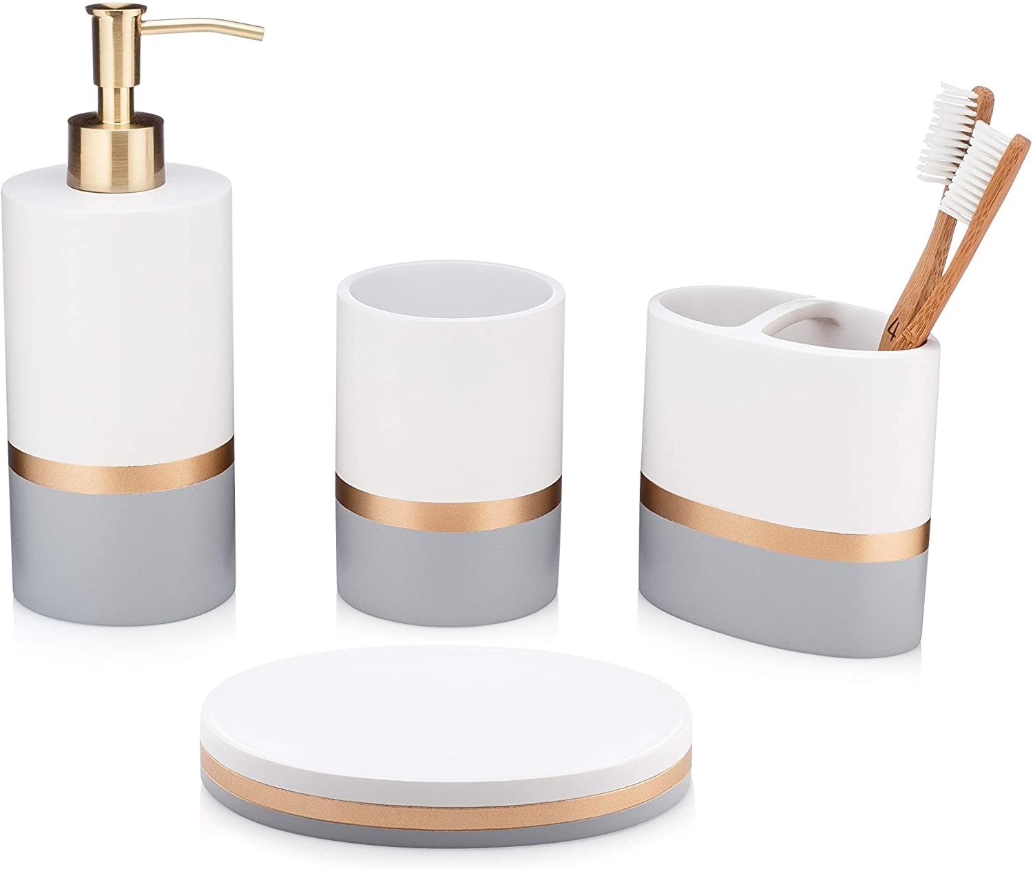 Day And Night Collection 4 Piece Bathroom Accessory Set White And Grey With Gold Stripe Set Includes Lotion Dispenser Toothbrush Holder Tumbler And Soap Dish Walmart Canada