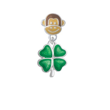 Translucent Green Lucky Four Leaf Clover - Monkey Face Charm Bead