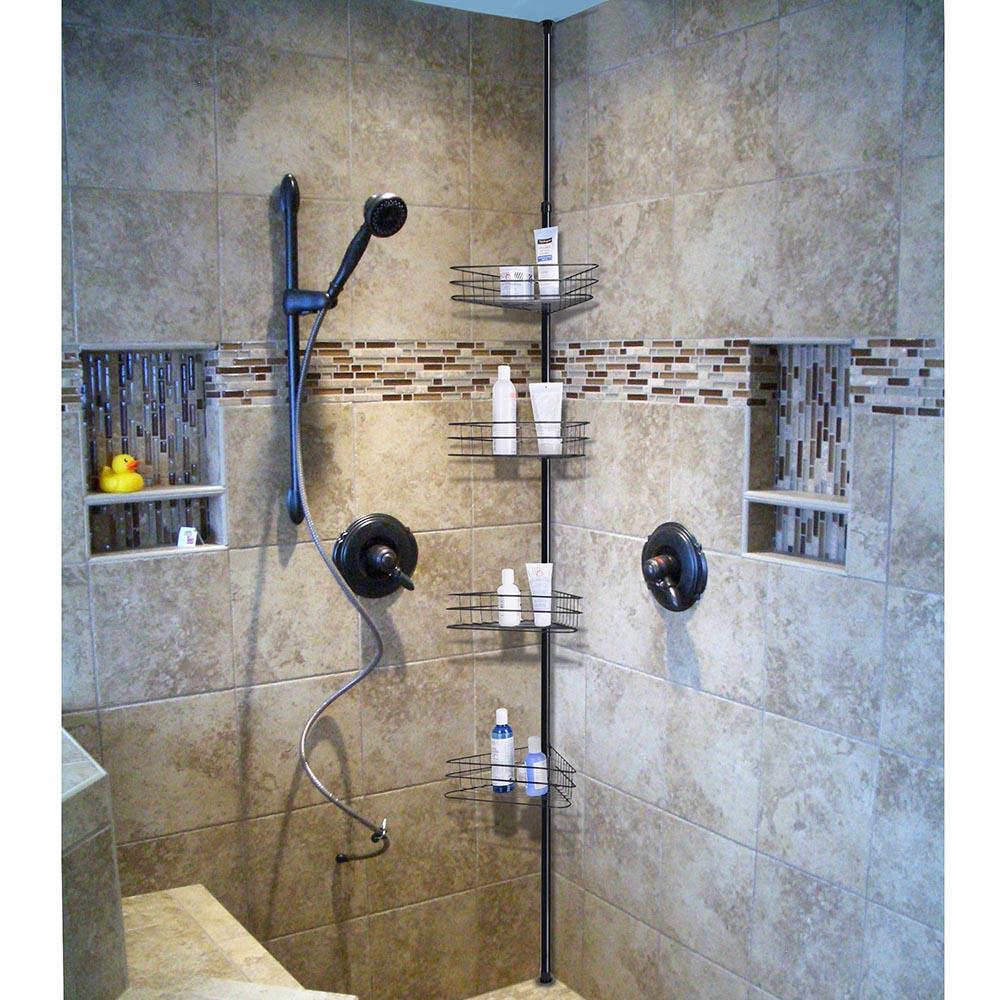 Yescom 4 Tier Metal Bathroom Telescopic Corner Shower Shelf Caddy ...