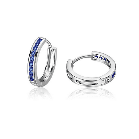 Carleen 925 Sterling Silver Channel Setting Round Cut Cubic Zirconia CZ Simulated Diamond Hinged Hoop Earrings for Women Girls Diameter 18mm/30mm Blue ()